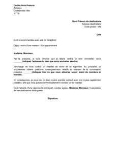 Lettre de demission agent commercial independant mod le for Agence pour location