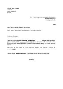 Modele lettre de demission remise en main propre gratuite