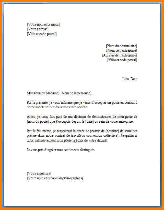 lettre demission sans preavis
