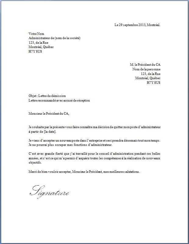 lettre de d 233 mission d un comit 233 mod 232 le de lettre