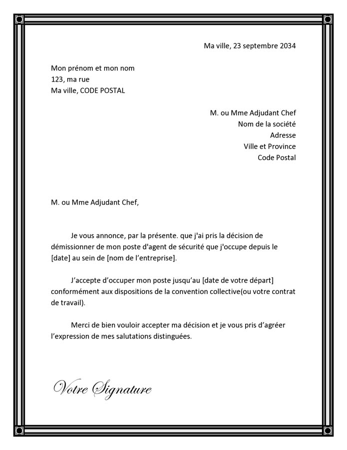 modele lettre remise en main propre