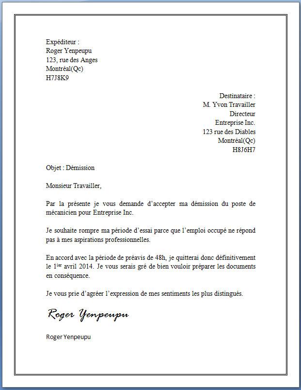 ecrire une lettre de demission