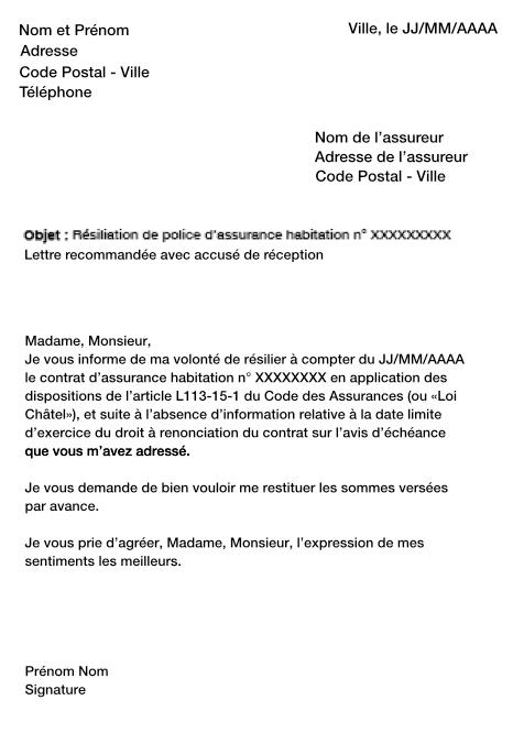 Courrier type de r siliation de contrat mod le de lettre for Assurance maison avec dossier criminel