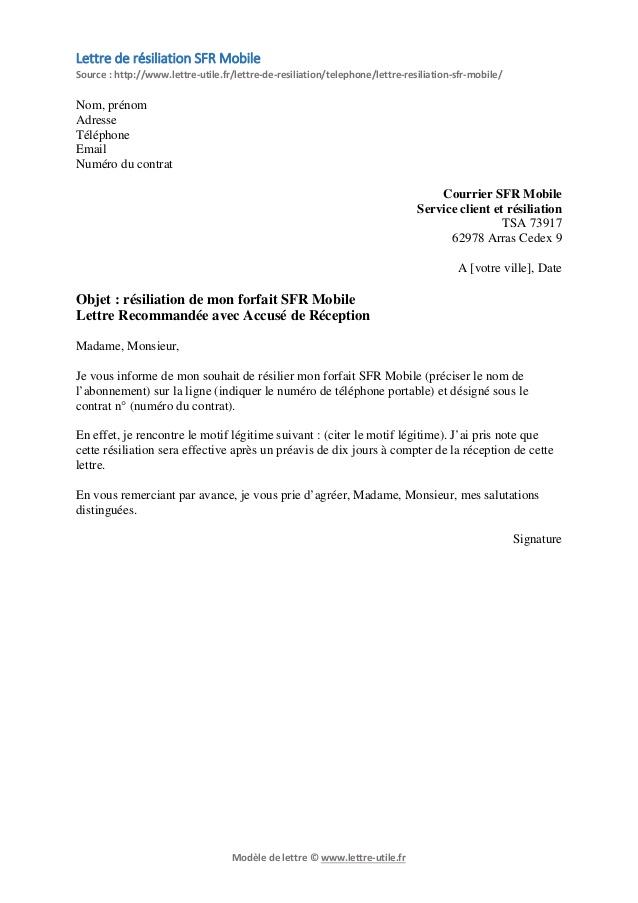 lettre de r u00e9siliation mobile