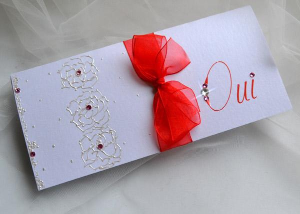Super Faire part de mariage rouge et blanc - Modèle de lettre PG65