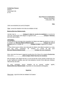 Modele De Lettre De Dedite De Location Mod Le De Lettre: lettre de resiliation bail meuble