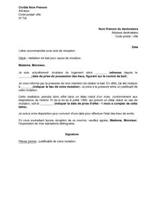 Lettre Fin De Location Logement Mod Le De Lettre