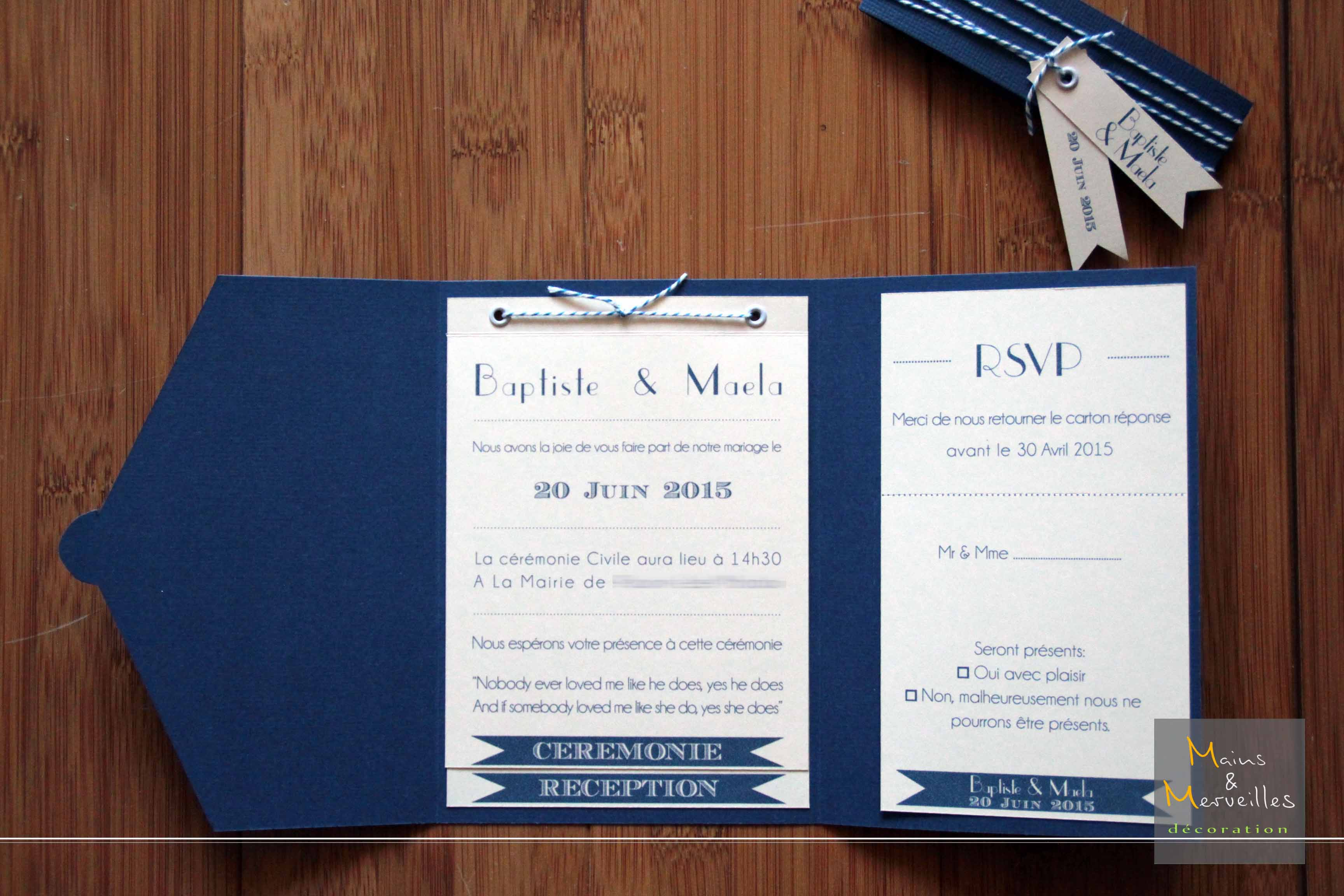 Fabuleux Faire part mariage bleu marine et rose - Modèle de lettre ED44