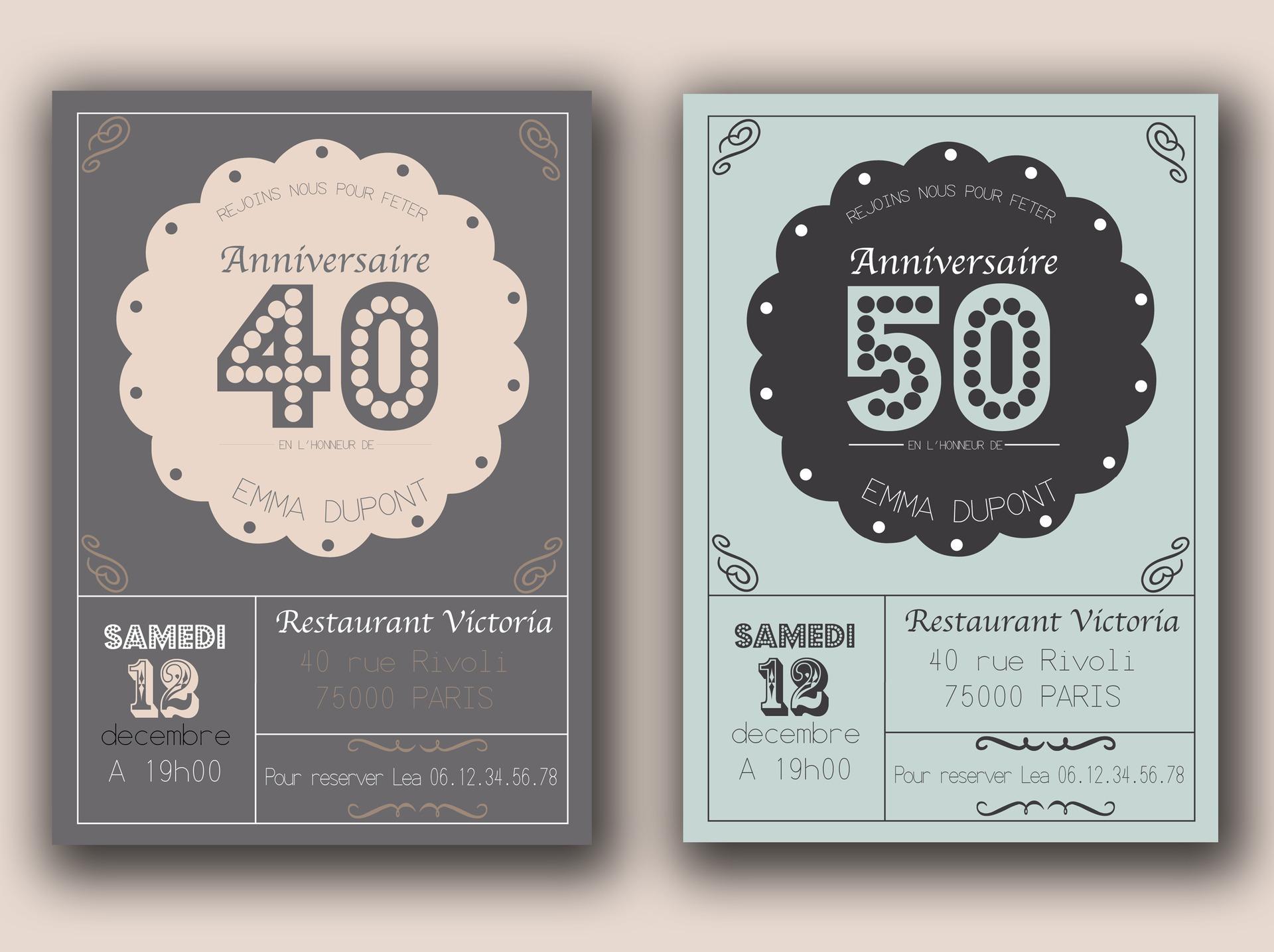 Très Faire part invitation anniversaire - Modèle de lettre TP85