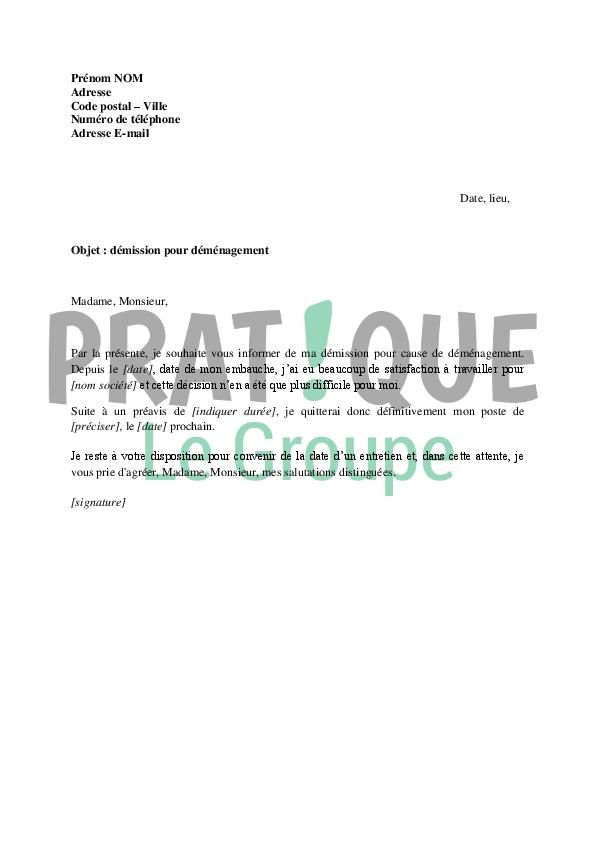 lettre de demenagement preavis