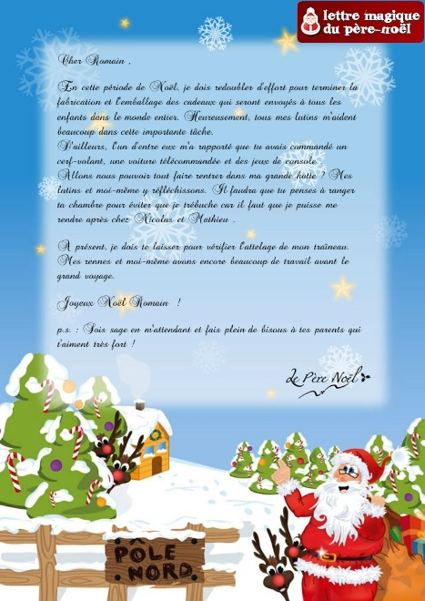 recevoir un message du pere noel mod le de lettre. Black Bedroom Furniture Sets. Home Design Ideas