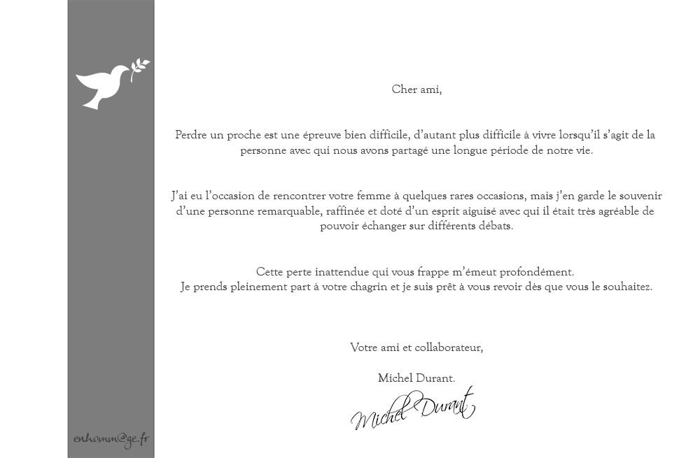 Lettres de condoleances deces   Modèle de lettre