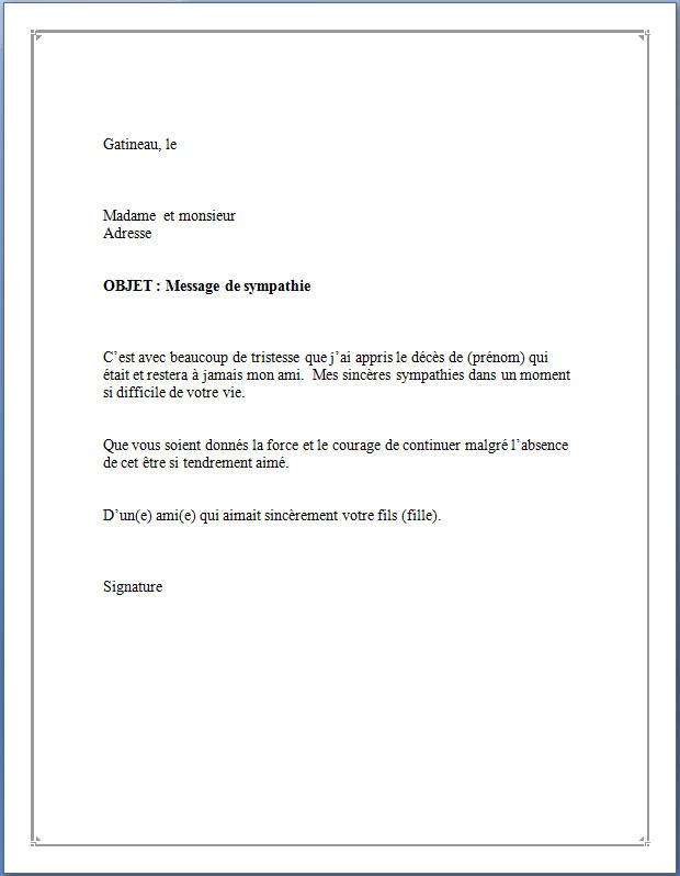 Modele mot condoleance   Modèle de lettre