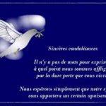 Message de condoléances pour un collègue