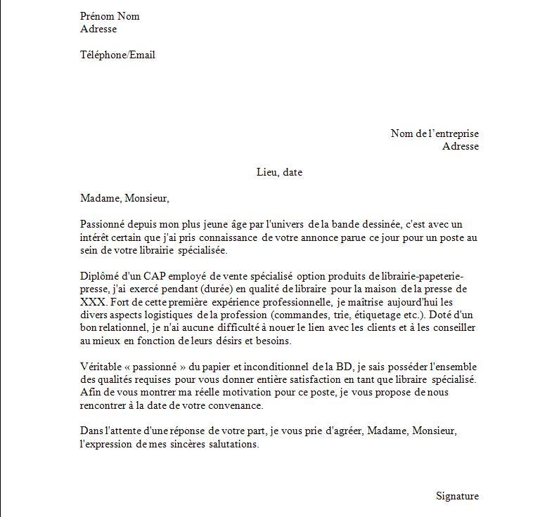 mod u00e8le de lettre de pr u00e9sentation pour cv