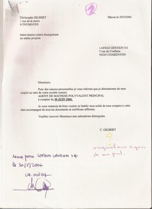 Modele lettre de demission sans preavis remise en main propre