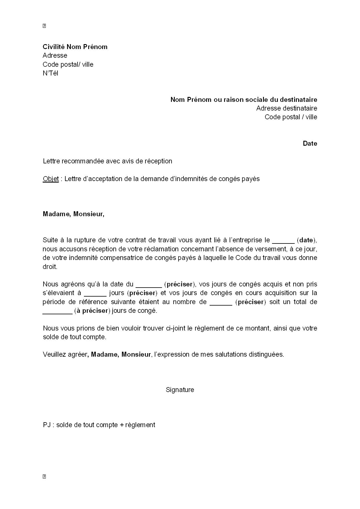 exemple lettre de demission avec conges payes Exemple lettre de demission avec conges payes   Modèle de lettre exemple lettre de demission avec conges payes