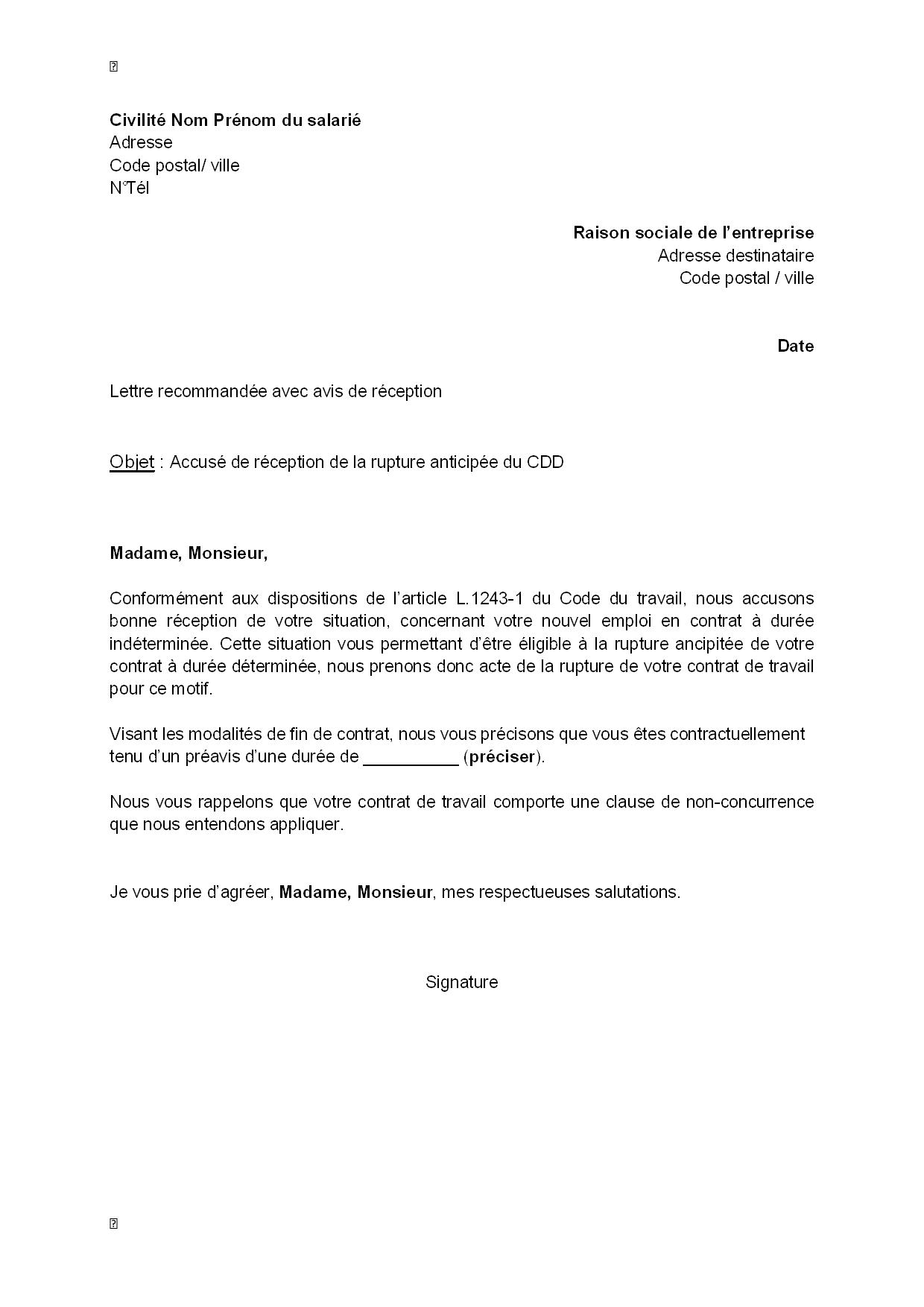 Lettre accusé de réception démission   Modèle de lettre