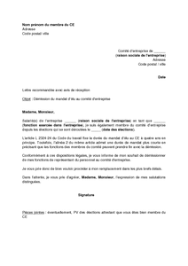 lettre type demission association