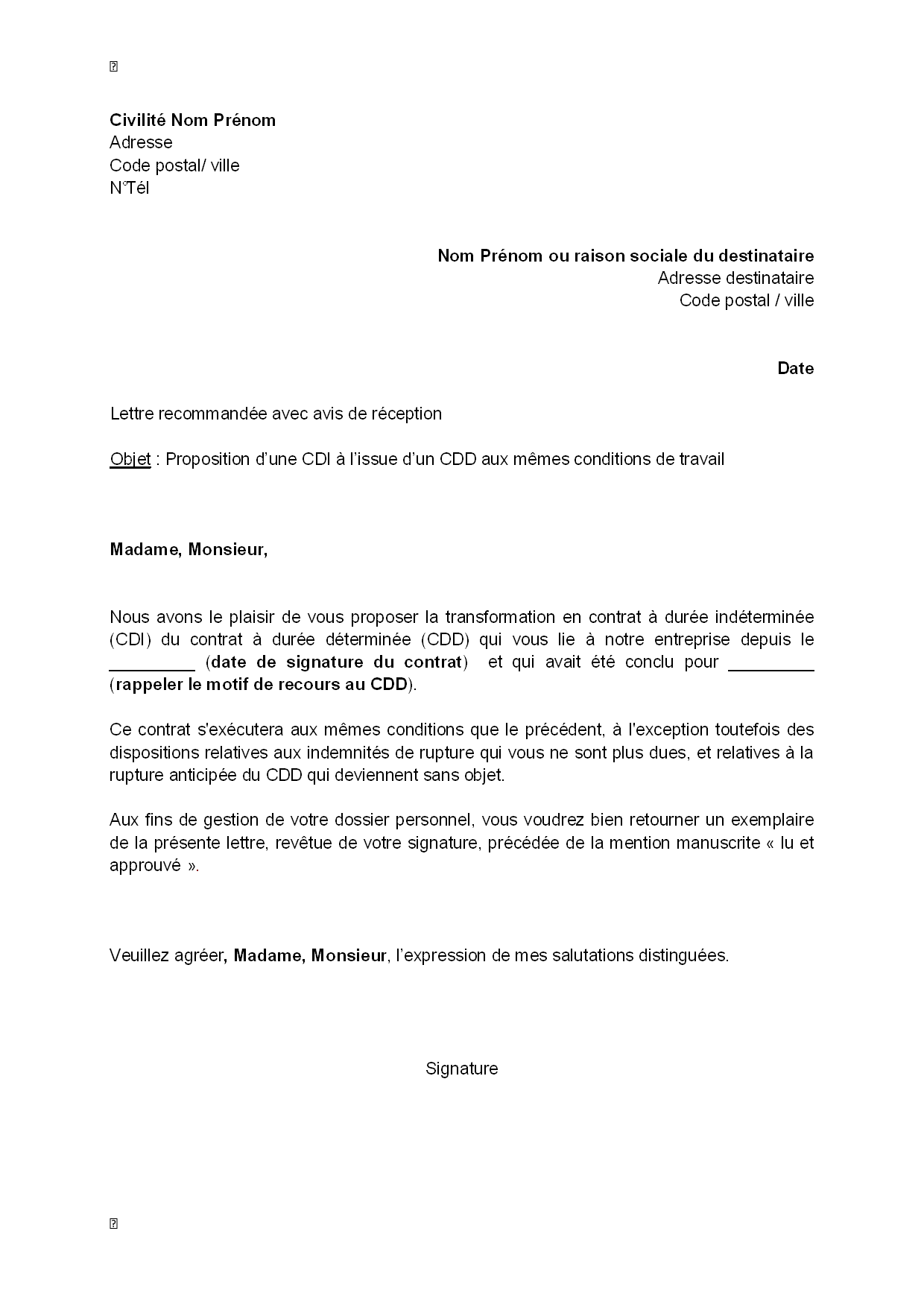 lettre de motivation cdi
