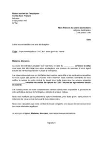 Exemple démission cdd - Modèle de lettre