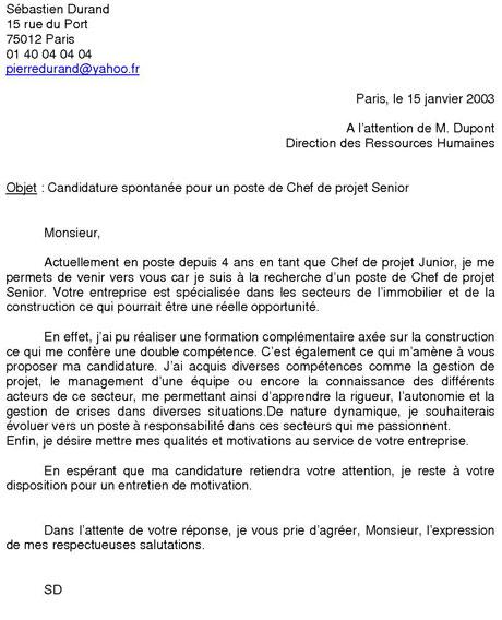 lettre motivation gratuite candidature spontan u00e9e