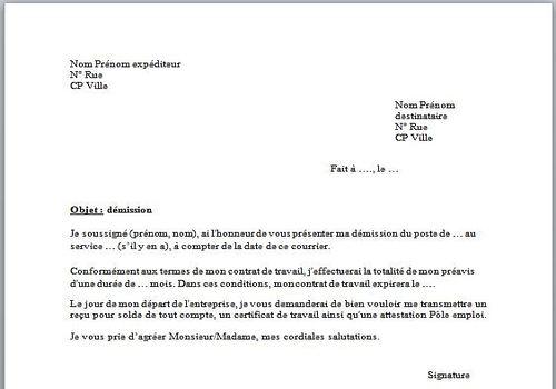 lettre de d u00e9mission belgique exemple