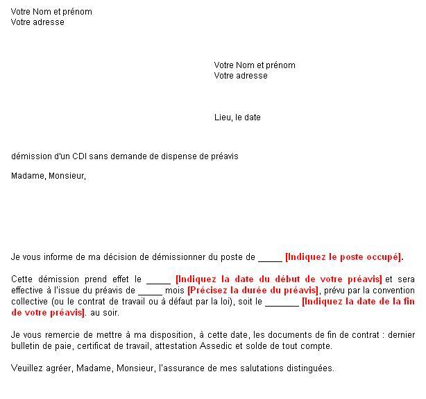 lettre de d u00e9mission pr u00e9avis 1 mois
