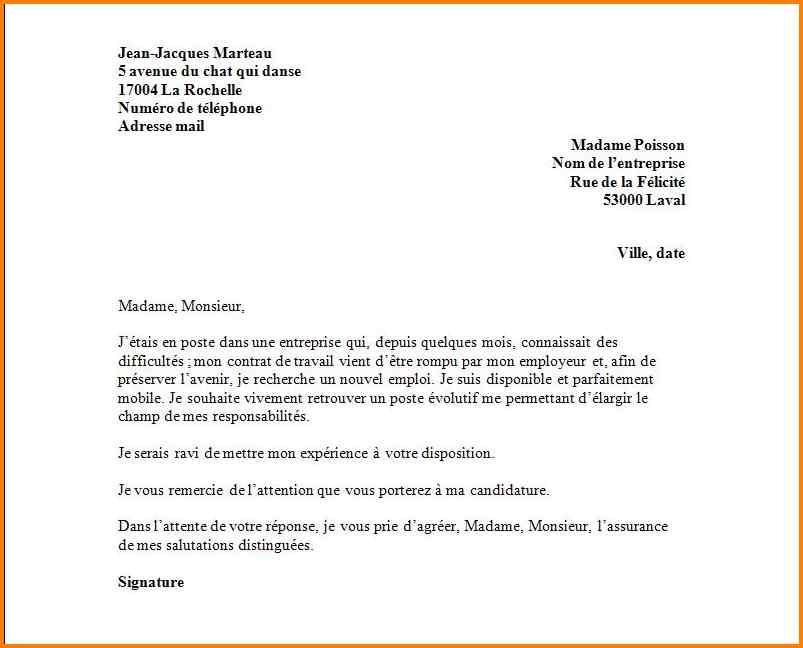 Lettre de motivation demande d emploi - Modèle de lettre