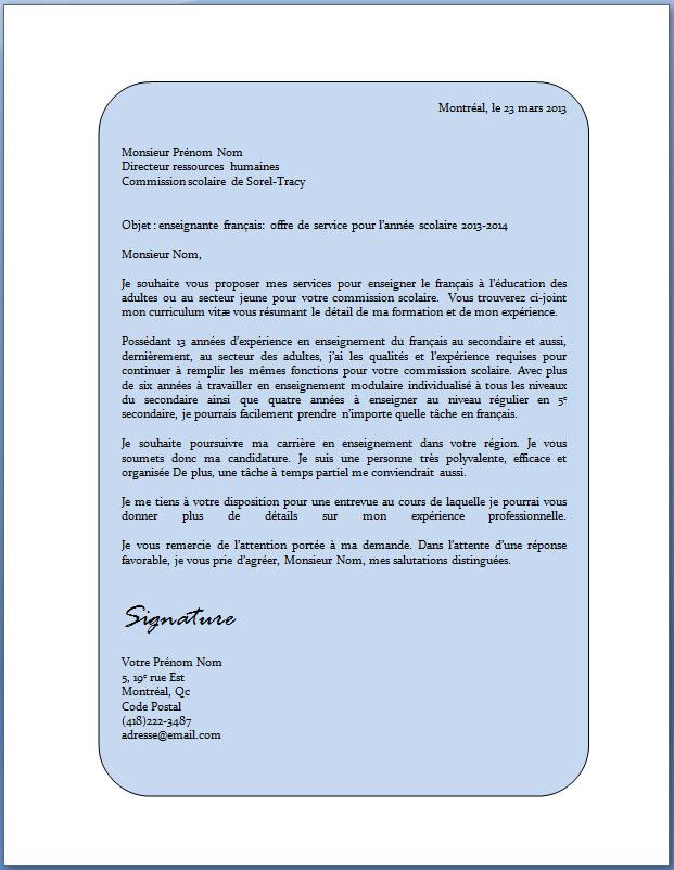 exemple lettre de pr u00e9sentation cv