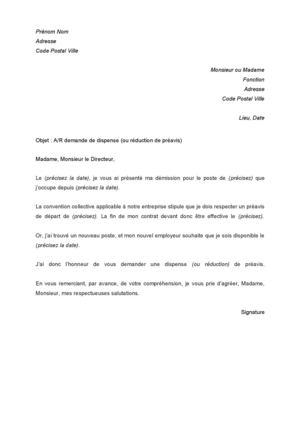 Lettre de démission avec demande de dispense de préavis   Modèle