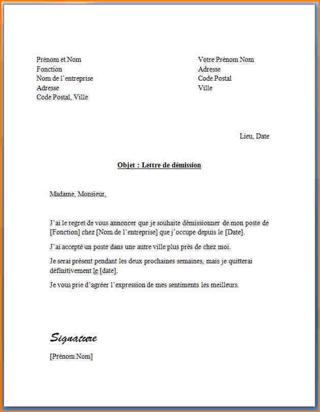 Lettre de démission sans préavis   Modèle de lettre