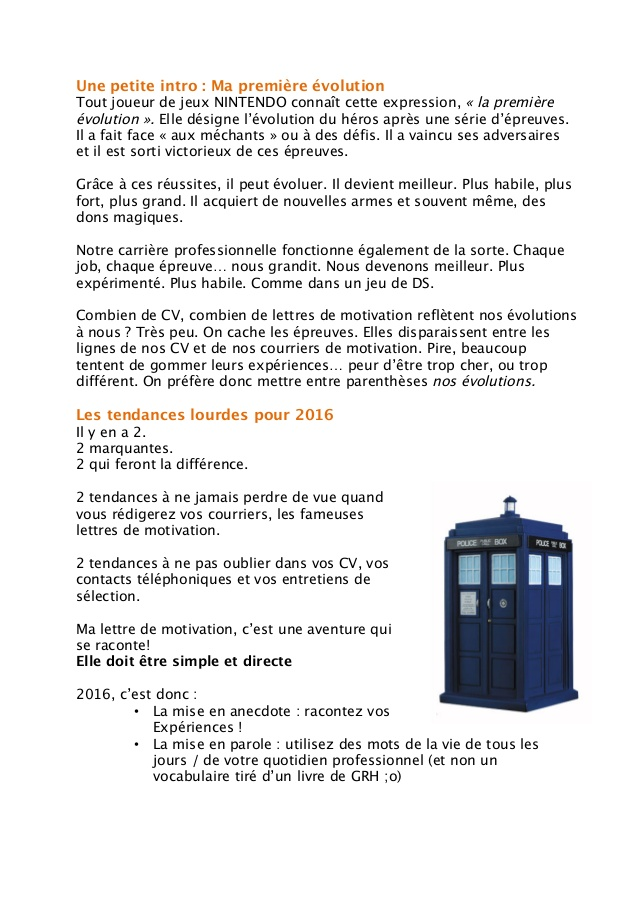 lettre de motivation 2016