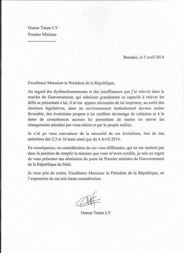 lettre de d u00e9mission d un parti politique