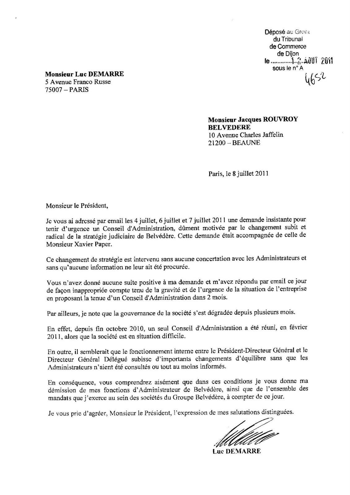 Lettre demission gerant   Modèle de lettre