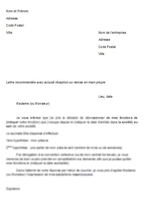 lettre de demission avec demande de congé Lettre de demission avec preavis et conges payes   Modèle de lettre lettre de demission avec demande de congé