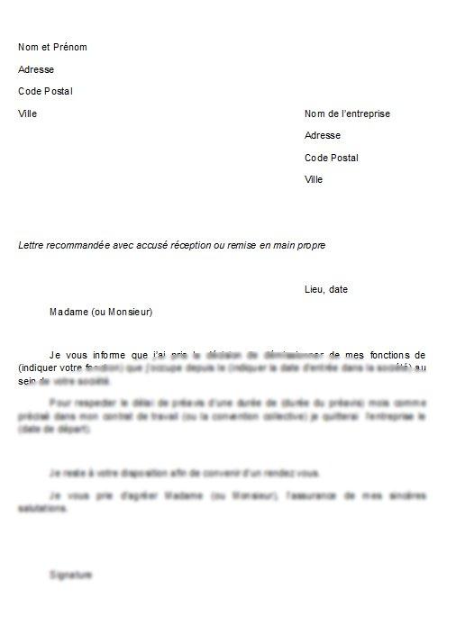Lettre de démission remise en main propre exemple   Modèle de lettre
