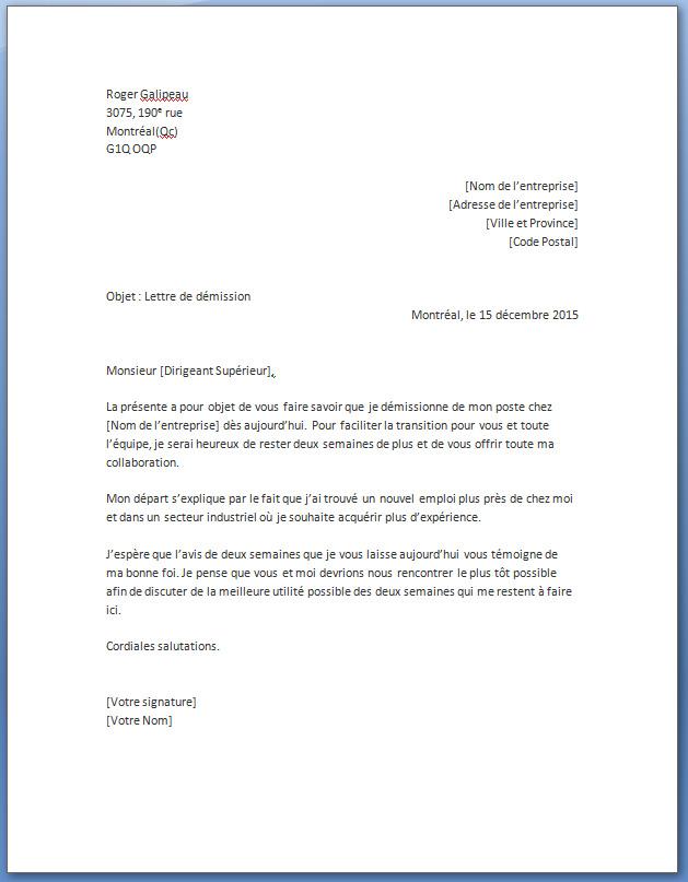 Lettre de démission simple pdf - Modèle de lettre