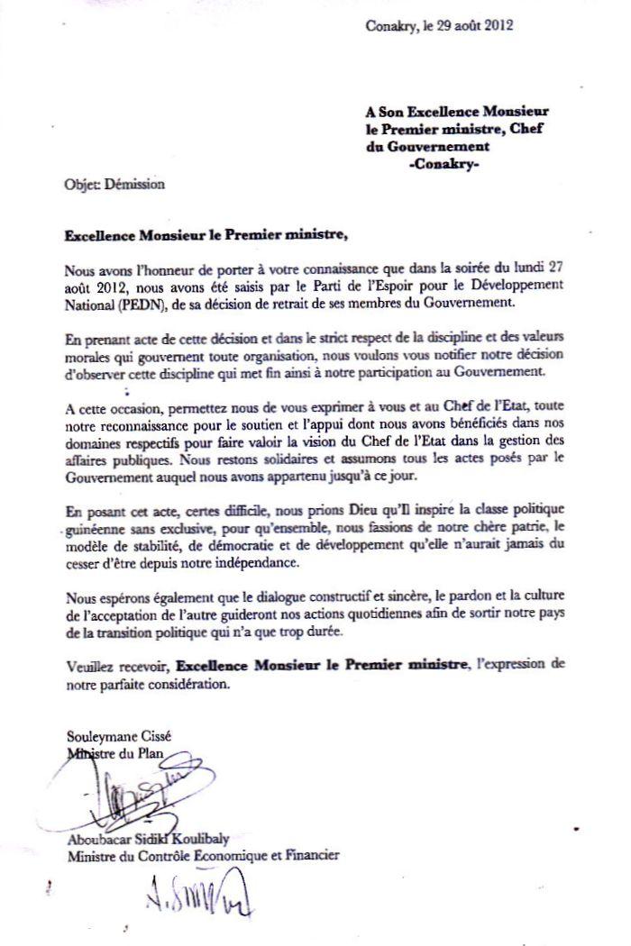 lettre demission cadre
