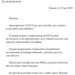 Exemple de lettre de présentation pour un emploi