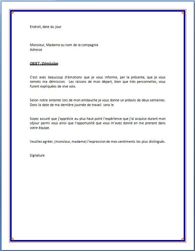 exemple de lettre de demission avec preavis d un mois Exemple lettre de démission avec préavis   Modèle de lettre exemple de lettre de demission avec preavis d un mois
