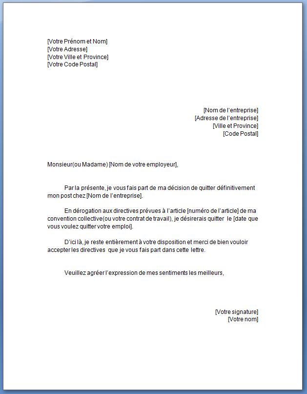 Exemple lettre de démission cdi sans preavis   Modèle de lettre