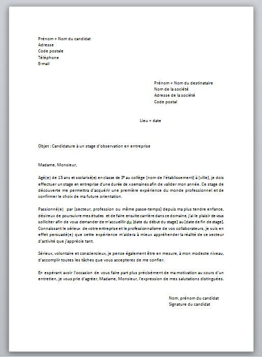 lettre de motivation pour un stage