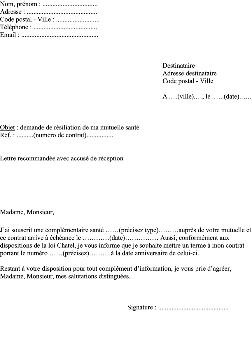 Modèle lettre de fin de contrat   Modèle de lettre