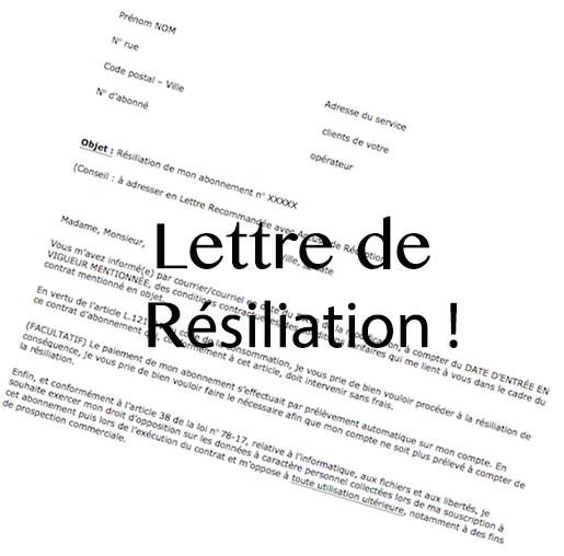 Lettre type de résiliation d abonnement   Modèle de lettre