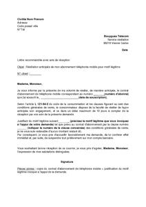 Lettre de résiliation d abonnement téléphonique   Modèle de lettre