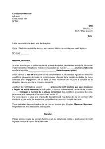 Modele lettre de resiliation   Modèle de lettre