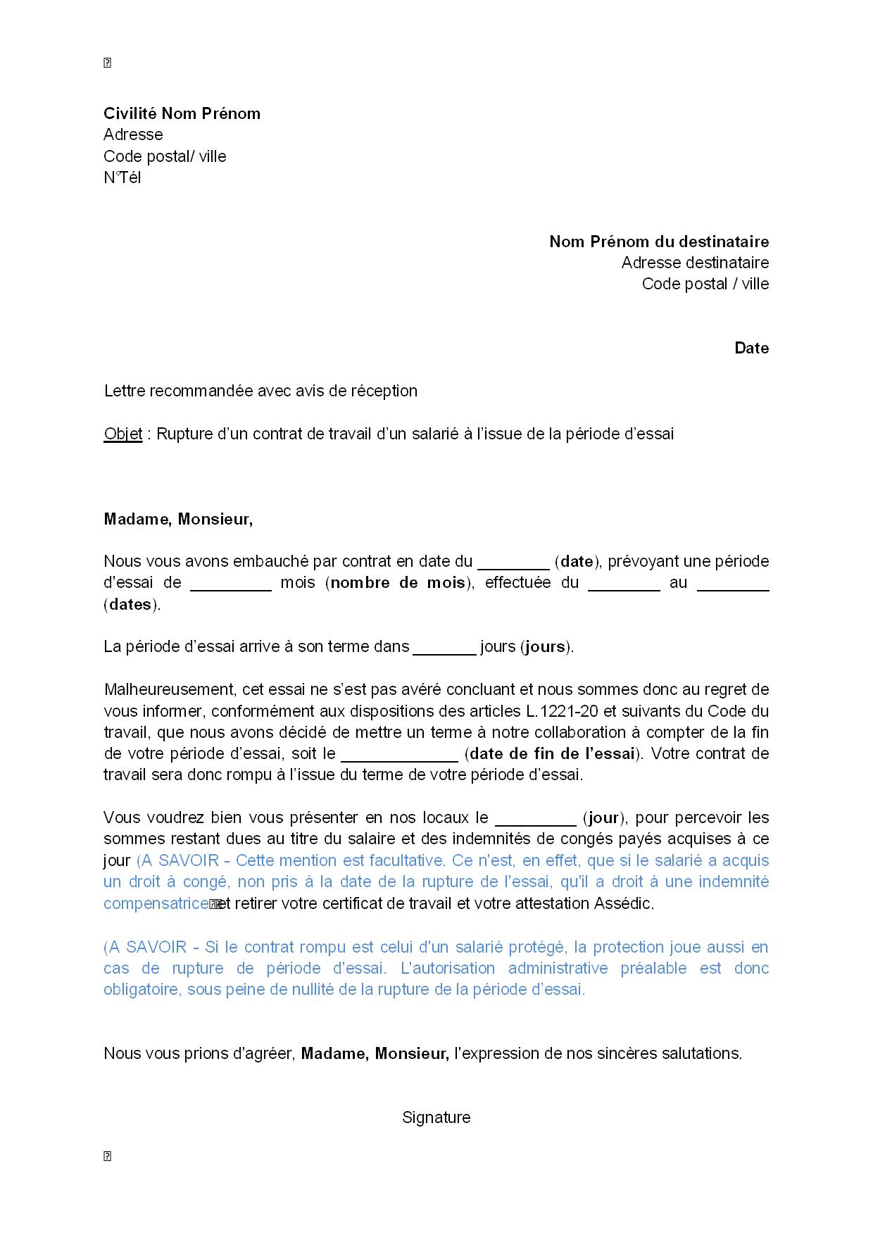 courrier de fin de contrat
