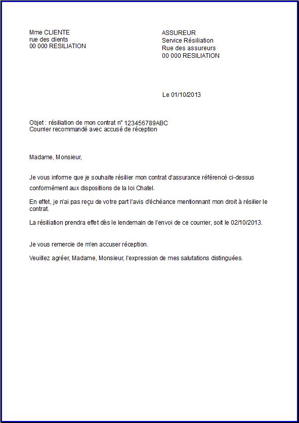 Exemple résiliation assurance - Modèle de lettre