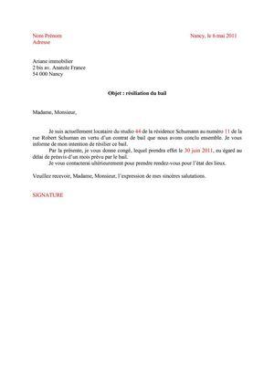Contrat De Rsiliation De Bail  Modle De Lettre